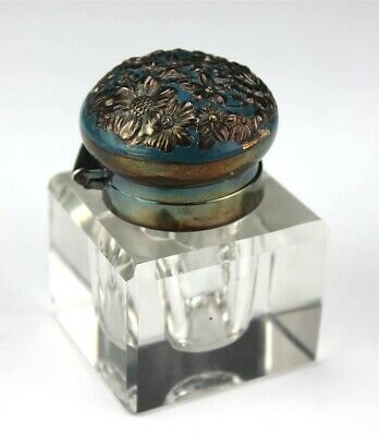 Antique Art Nouveau Floral Silver Plate Mounted Crystal Glass Inkwell Bottle RPW