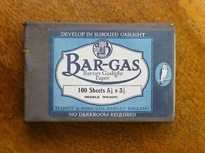 Bar-Gas: Barnet Gaslight Paper, 100 sheets, 5 1/2 x 3 1/2, vintage photography