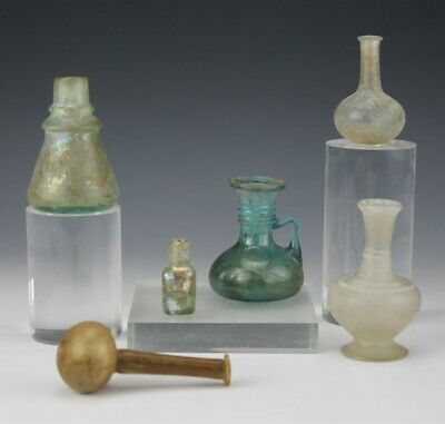 Lot 6 Antique Dug Out Archaeological Excavated Style Blown Glass Bottle Vase RSM