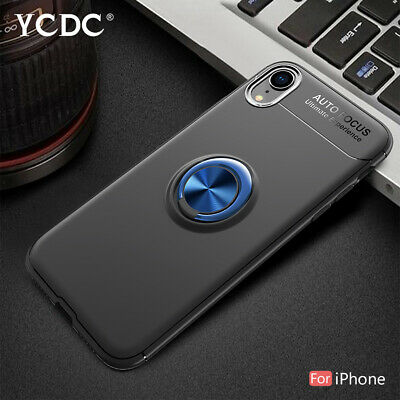 Case For iPhone XR XS XS Max X Magnetic Adsorption Cover With Ring Kickstand 2A