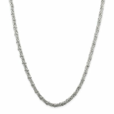 Sterling Silver 4 mm Fancy Byzantine Necklace QH1076