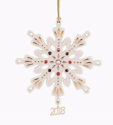 Lenox 2018 Annual Gemmed Snowflake Red and Green Crystals Ornament NEW IN BOX