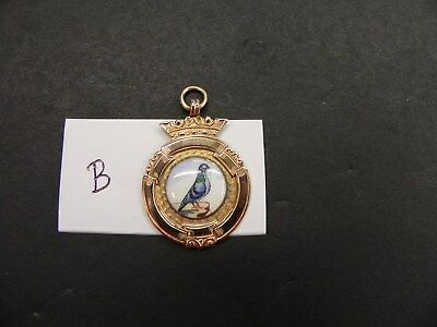 Pigeon Fob Medal  9Ct Gold And Enamel  Ref B