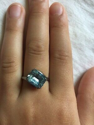 Vtg Antique Lovely Signed 40's Sterling Silver Aquamarine Ring~Small sz5~Free SH