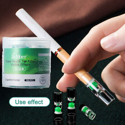 100Pcs Disposable Tobacco Cigarette Filter Holder Storage Smoking Reduce Tar US