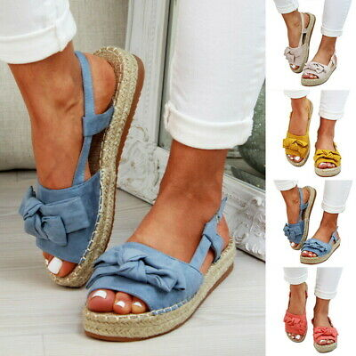 c830244a3 New Womens Flatform Sandals Embellished Slingback Comfy Holiday Shoes Sizes  3-8