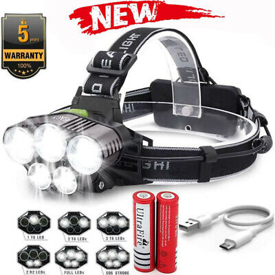 90000LM 5X T6 LED Headlamp Rechargeable Headlight 18650 Power Flashlight Torch