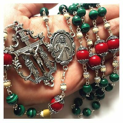 Malachite & Red Coral Rosary Beads Cross crucifix  Necklace Catholic gifts