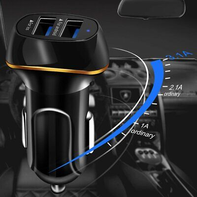 3.1A Dual Ports USB Car Cigarette Charger Lighter Digital LED Voltmeter 12V/24V