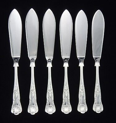 Vintage Heavy Webber And Hill Silver Plated Kings Pattern Fish Knives Sheffield
