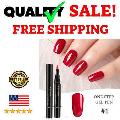 3 In 1 Gel Nail Art Polish UV Pen for Women Base and Top Coat With Red Color NEW