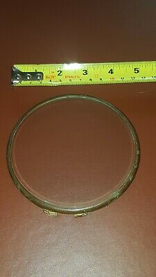Antique Clock Part GLASS IN BRASS FRAME MANTLE APPROX 4.5 INCH FREEPOST VINTAGE