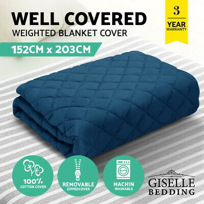 Giselle Bedding Cotton Weighted Blanket Zipper Washable Cover Adult 152x203cm
