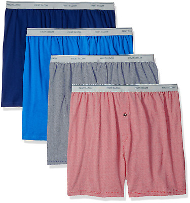 Fruit of the Loom Men's Soft Stretch-Knit Boxer Multipack, Exposed Waistband - 4