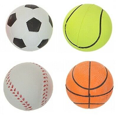 Set Of 4 Assorted Solid Rubber Sports Balls Pet Dog Fetch Tennis Ball 2.5 Inch