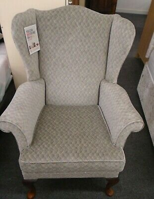 Classic PARKER KNOLL PK 1140 Hartley Grey Fabric Wing Fireside Armchair  - T17