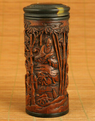 unique Chinese old boxwood hand carved buddha sage tea box