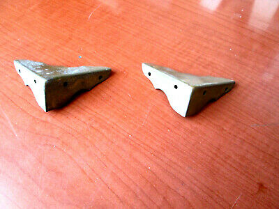 Pair of Antique Corner Guard Solid Brass For Wood Box Great Patina (372E)