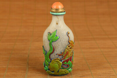 unique chinese old colour glass hand carved phoenix snuff bottle