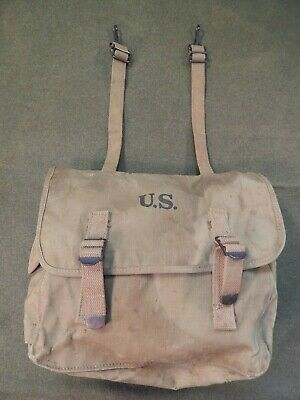 WWII U.S. Army, M-1936 Field Bag, WWII MUSETTE Bag, 1942,Rubberized Khaki Canvas