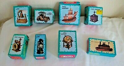 job lot 8 Pencil Sharpeners Vintage Die Cast Metal Miniature all boxed & unused