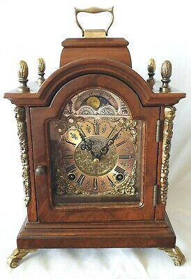 Warmink Mantel Clock Dutch Vintage Shelf Moonphase Bell Strike Silent Option