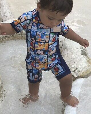 Disney Mickey Mouse And Friends Beach Design Swimsuit Costume 12-18 Months
