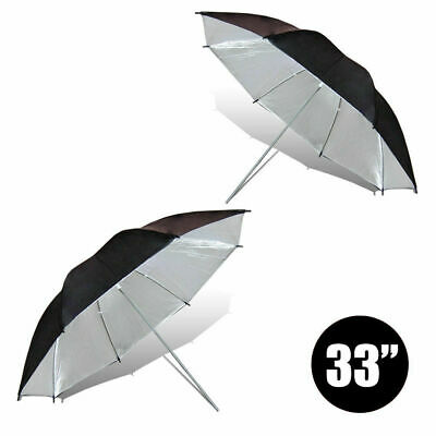 "[2 PCs] 33"" Black & Silver Umbrella Diffuser for Photo Studio Lighting Stand Kit"