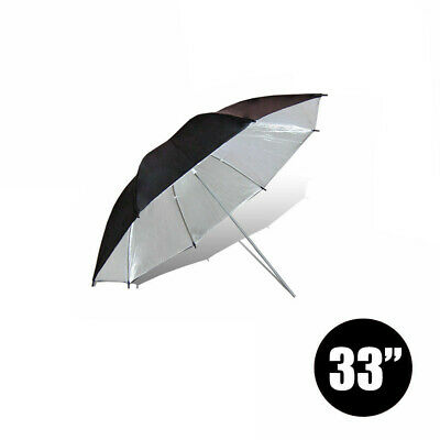"33"" Black & Silver Umbrella Diffuser For Photo Video Studio Lighting Stand Kit"