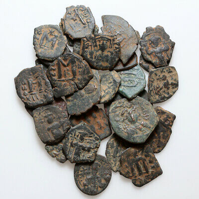 Top Lot Of 30 Byzantine Bronze Various Coins Include Pseudo Byzantine