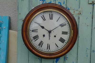 Antique Victorain Mahogany School Railway Wall Clock Org Striking Brass Movement