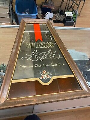 Vintage 1970's Michelob Light Beer Sign Mirror Anheuser-Busch Brewery Advertisin