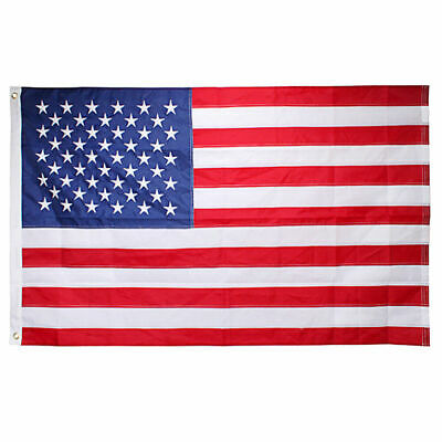 TWO American Flags 3x5 Ft Embroidered Stars Sewn Stripes Brass Grommets 210D ...