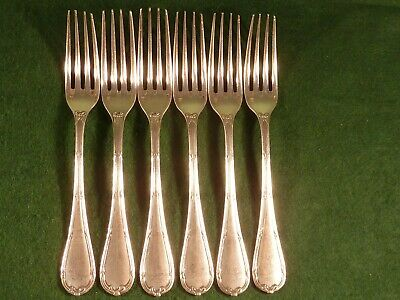 6 Antique Christofle Silver Plated Dinner Table Forks - Rubans Pattern Mid 19thC