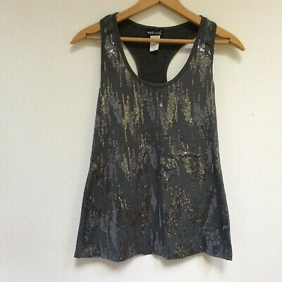 b2336bfb24848 Wet Seal Womens Medium Racer Back Tank Top Gray Sequins