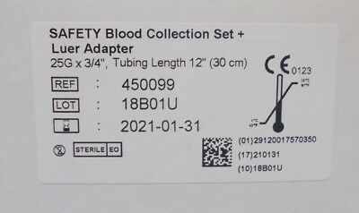 Vacuette 450099 (BOX OF 50 NEW) SAFETY Collection Set + Luer Adapter (2021)