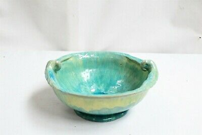 VERY RARE Arts Crafts Drip Flambe Glaze Double Parrot Winged Art Pottery Bowl 27