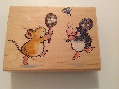 PENNY BLACK NEW W/M RUBBER STAMP - GOOD GAME - hedgehog & mouse play badminton