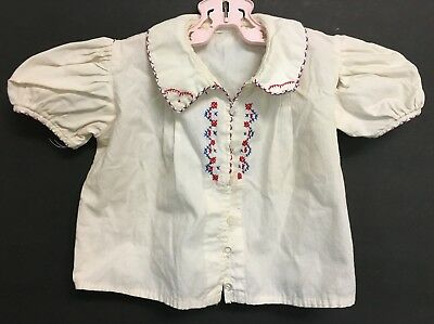 Vintage Girls Bohemian White Shirt Top With Embroidery & Puffy Capped Sleeves