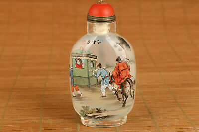 unique chinese old glass hand painting jiabaopyu snuff bottle