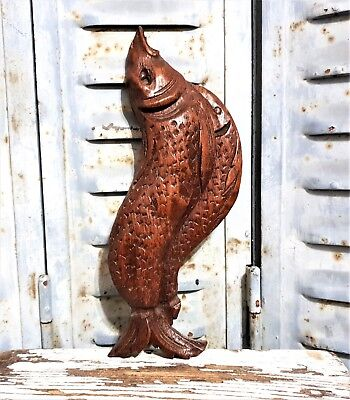 fish farmhouse panel Antique french wooden carving applique furniture ornament