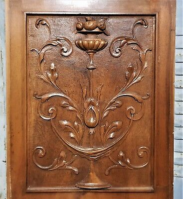 Bow scroll leaves panel Antique french carved wood wall architectural salvage