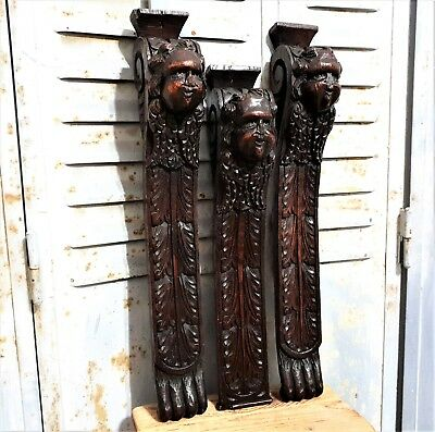 3 Gothic angel corbel bracket Antique french carved wood architectural salvage