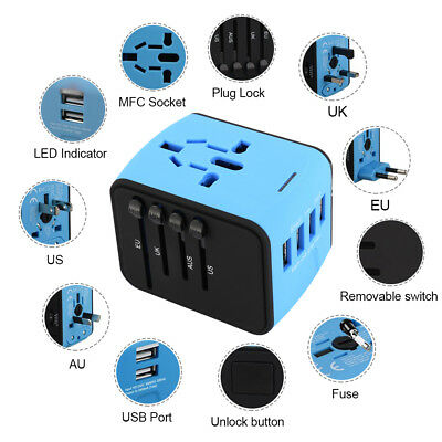 Travel Adapter USB Universal 4 USB Wall AC Power 240v 110v for AU EUROPE USA MY