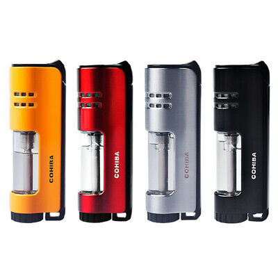 COHIBA Placstic Windproof 1 Torch Jet Flame Cigarette Cigar Lighters W/Gift Box
