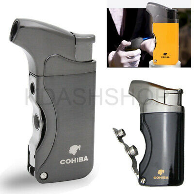 COHIBA Lighters Metal Windproof Torch Jet Flame Cigarette Cigar Built-in W/Punch