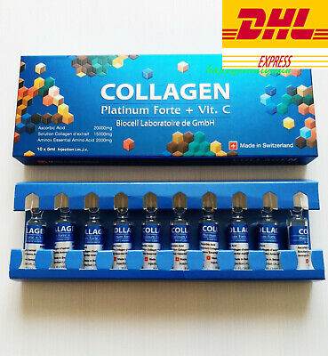 1 Box Collagen Platinum Forte + Vit C Biocell 10 Amps X 5ml. Free Shipping