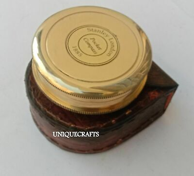 Nautical Shiny Brass Poem Compass With Leather Case Marine Pocket Compass Item