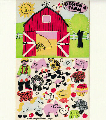 Rare Vtg 80's Sandylion Design a Farm Maxi Sticker Sheet Pig Cow Horse Sheep Cat