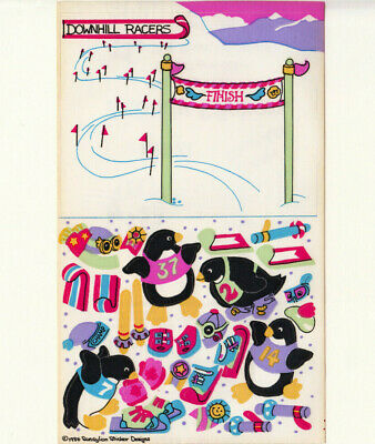 Rare Vtg 80's Sandylion Downhill Racers Penguin Maxi Sticker Sheet Ski